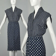 Large Lanvin 1970s Dress Vintage 70s Designer VTG Polka Dot Striped Navy Blue