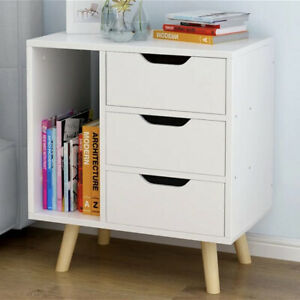 3 Drawers Bedside Table Nightstand Cabinet Bedroom Storage Chest of Drawer White