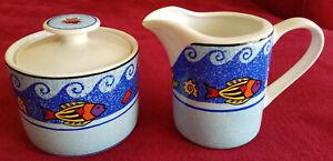 NEW creamer, covered sugar bowl, Sango,multicolor Fish,Wave design, susan lipkin