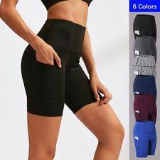Women Pocket Running Shorts Outdoor Elastic Gym Fitness Yoga Activewear 2048