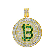 Lab Simulated Diamond Round Pendant Bitcoin Real Yellow Sterling Silver Green