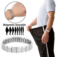 Uomo Bracciale Magnetico Titanio Super Forte Terapia Metallo BIO Terapeutico