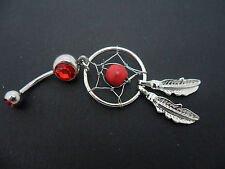 A   DANGLY STAINLESS STEEL AND RED CRYSTAL DREAMCATCHER  BELLY BAR. NEW.