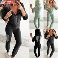 Women Rhinestone Hoodie Top Trousers Tracksuit Set Casual Sport Gym Jogging Suit
