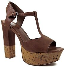 Dolce Vita DV Women's Baxter Platform T-Strap Sandals Tan Leather Size 9.5 M