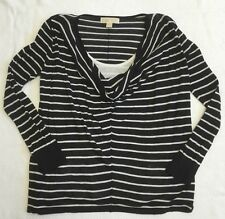 Michael Kors Long Sleeve Layered Sweater In White And Navy Stripes Sz M EUC