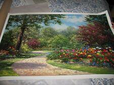 Schaefer Miles art Summer Enchantment landscape tree flowers w/ COA 26 x39