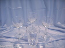 VINTAGE 1930'S / 40'S ACID ETCHED GARLAND LIQUEUR GLASSES x 3 PLUS SMALL TUMBLER