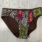 NEW! Athleta Brown Black Paisley Ikat Swimwear Bikini Bottoms Reversible Small