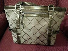 Nine West  Gold & Tan Design Fabric & Faux Trim Leather Shoulder Bag