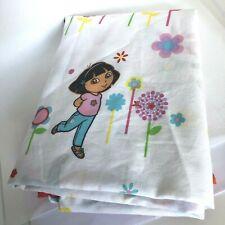 Dora the Explorer Twin Bed Flat Sheet Monkey Flowers Girls Kids Nickelodeon