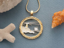 "Lighthouse Pendant & Necklace. Maine State Coin Hand cut -1"" diameter ( # 779 )"