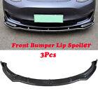 Carbon Fiber For 16-19 Tesla Model 3 Sedan Look Style Front Bumper Lip Spoiler