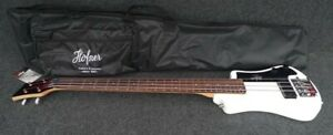 HOFNER HCT-SHB-WH-0 SHORTY TRAVEL Electric BASS Guitar WHITE with Gig Bag