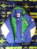 Vintage 90's Starter Pro Line Seattle Seahawks Hooded Full Zip Puffer Jacket XL