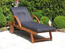 Gartenliege mit Kissen Anthrazit Holz  Liege Sonnenliege Relaxliege NEU & OVP