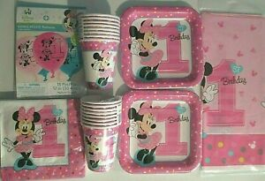 MINNIE MOUSE Fun To Be One 1st Birthday Party Supply Kit Pack for 16 w/Balloons