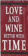 Large LOVE AND WINE Wood Panel & Metal Accent Wall Decor Kitchen Decor or Gift