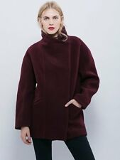 NEW WOMEN'S FREE PEOPLE EGGPLANT BOILED WOOL COCOON COAT SIZE LARGE