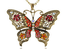 Antique Gold Butterfly Pendant Red Gemstones Filigree Wings Pendant Necklace New