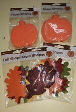 50 Fall Foam & Felt Shapes Glitter Leaves Pumpkins Crafts Art Thanksgiving