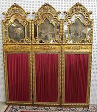 Antique French Louis XVI French Carved Gilted Dividing Screen Paintings 3 Panels
