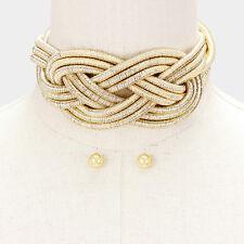 HOT Celeb Statement Gold Braided Layered Choker Necklace Set By Rocks Boutique