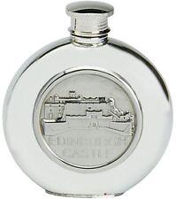 Pewter Hip Flask Edinburgh Castle Scotland Embossed Screw Top Engravable 6oz