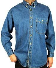 Denim Shirt -Men's Long-Sleeve Relaxed Fit Stone Washed Button down Collar. M-02