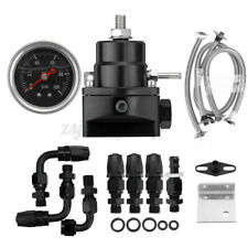 Universal Adjustable Fuel Pressure Regulator W/ AN6 Fitting 100PSI Gauge Black