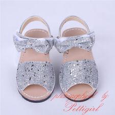 NEW Girls Glitter Bow Sandals Toddler Kids Summer Party Wedding Shoes Flat Heels