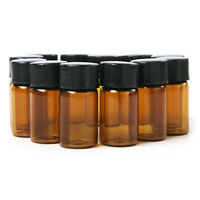 12x Amber Glass Essential Cute 2ml Oil Bottle Orifice  & cap Easy To Use