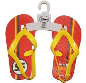 DISNEY CARS LIGHTNING McQUEEN Flip Flops Beach Sandals Toddler's Size 7-8 NWT