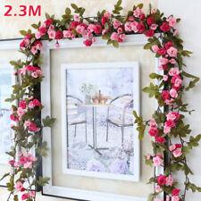 230cm Künstliche Rosen Girlande Kunstblumen Efeugirlande Hängende Pflanzen Deko