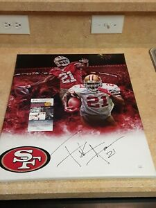Frank Gore San Francisco 49ers Signed 16x20 NFL Custom Canvas Exact Proof JSA