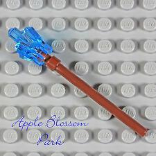 NEW Lego Minifig STAFF WEAPON - Brown Stick Tool w/Trans Medium Blue Crystal Gem