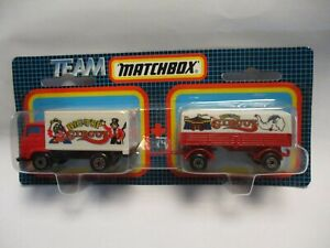 """Matchbox 1992 Two Pack Dodge Commando & Trailer """"Big Top Circus"""", blistercard"""