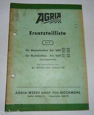 Ersatzteilliste 8/3 Agria für Messerbalken und Mulchbalken Schwingenantrieb 1968