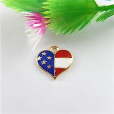 17x Multicolors Alloy Us Flag Heart Enamel Pendants Findings Crafts Charms 51532