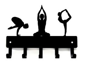 """Yoga Poses trio Key Rack Holder - Small 6"""" - Made in USA"""