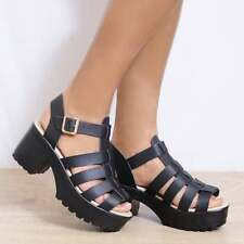 WEDGED CLEATED PLATFORMS SUMMER STRAPPY SANDALS ANKEL STRAP HIGH HEELS SHOES