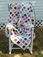 HANDMADE CROCHET AFGHAN - 300 GRANNY SQUARES MULTI COLOR 54 X 70
