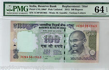 INDIA 100 RUPEES NL 2012 1CM* Replacement PMG 64 UNC GANDHI CURRENCY MONEY NOTE