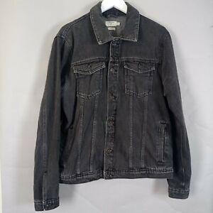 Topman Denim Jacket Size XL Black Trucker Style Classic Fit Casual