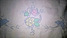 1 White Pillowcase Vintage Blue Pink Green Yellow Floral Embroidered Pattern One