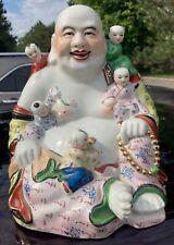 Vintage Large Chinese Famille Rose Porcelain Smiling Buddha Statue