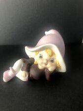 Vintage Homco Pixie Elf Shelf Sitter Figurine #5213 Bisque Lavender Fairy Gnome
