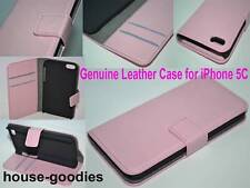 Baby Pink Genuine Real Leather Flip Wallet Case Cover Stand for iPhone 5C