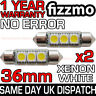 2x 36mm NUMBER PLATE INTERIOR ERROR 6000K WHITE 3 SMD LED C5W FESTOON LIGHT BULB