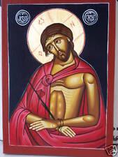 JESUS CHRIST STUNNING HAND PAINTED ICON ON WOOD